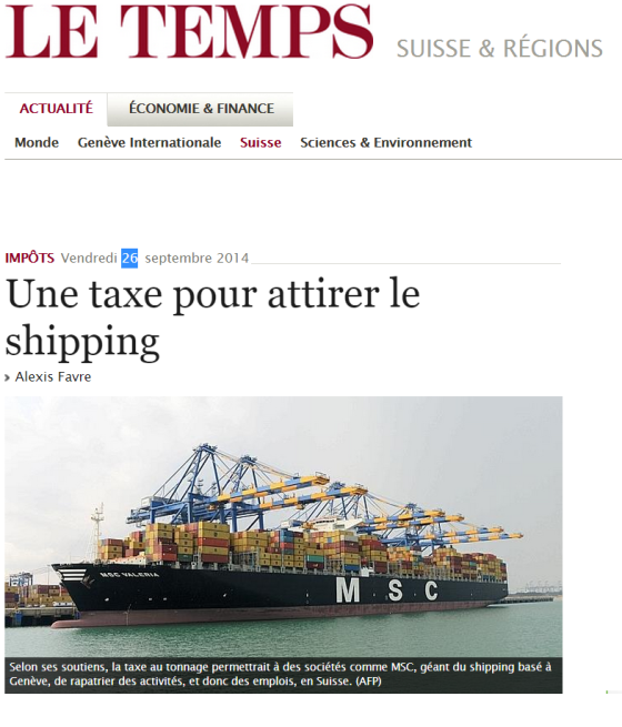 How a new tax can attract Shipping ? CH to consolidate its status in the Global Commodity Trading Markets.